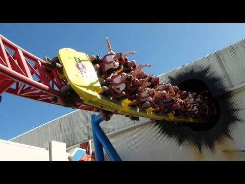 Superman Escape Roller Coaster Front Seat POV Warner Bros Movie World Australia