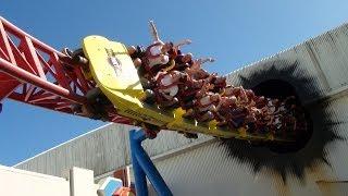 Superman Escape Roller Coaster Front Seat POV Warner Bros Movie World Australia