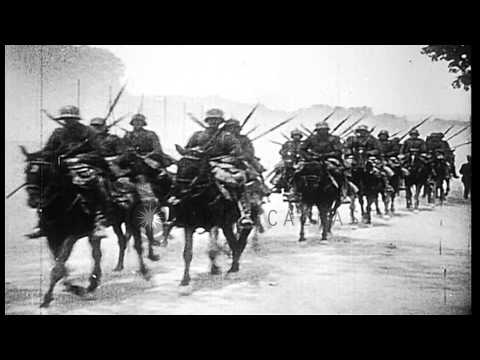 German cavalry unit moving along a dirt road during World War I. HD Stock Footage