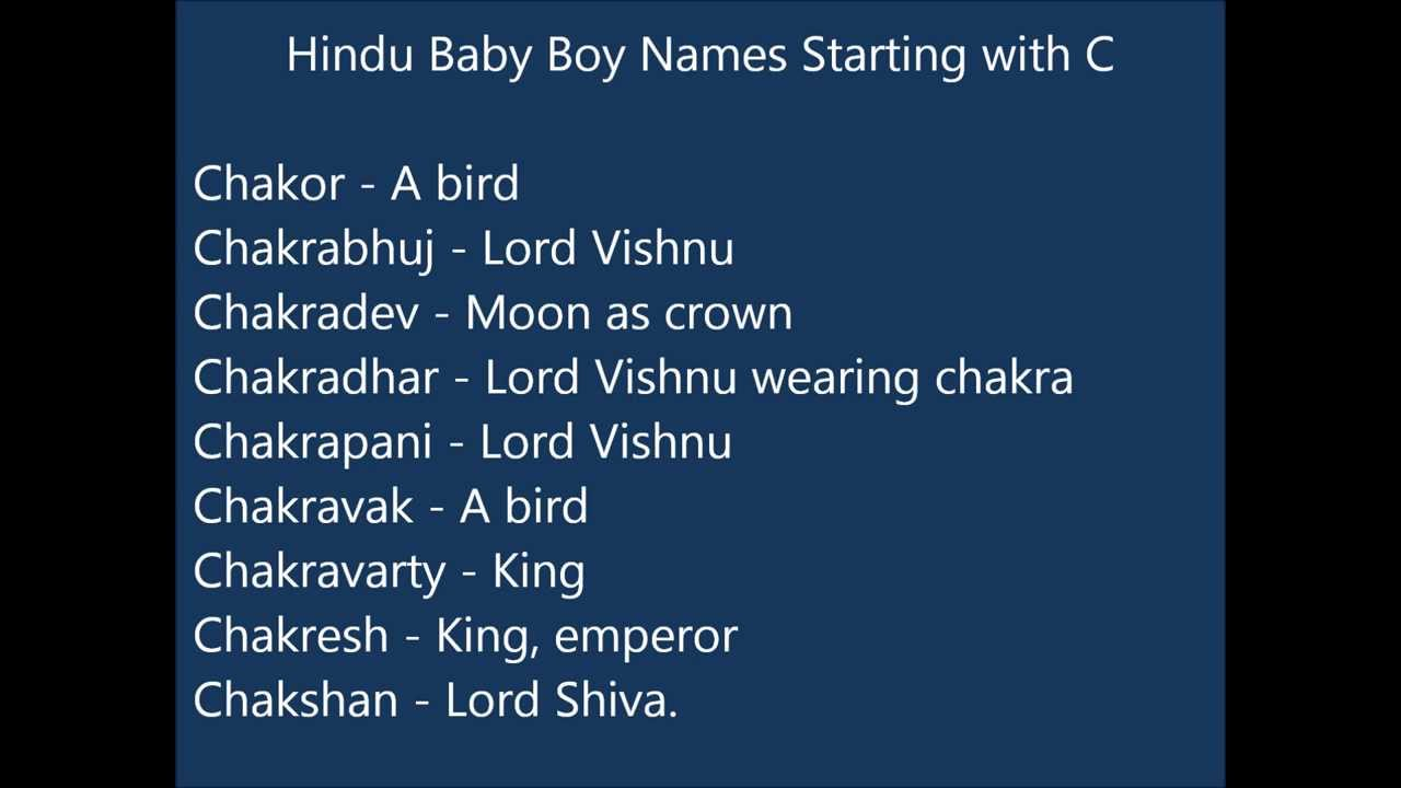 Baby Boy Names Starting With Letter Ch