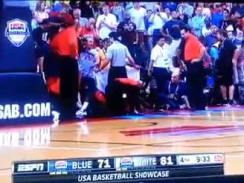 Paul George snaps leg in freak accident - INJURY - Zoomed in close up! WARNING!