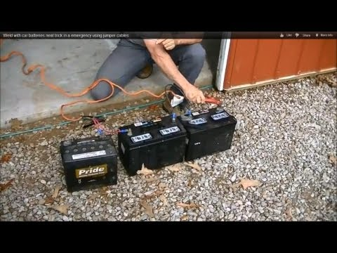 Weld with car batteries neat trick in a emergency using jumper cables