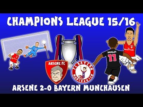🏆Arsenal 2-0 Bayern Munich🏆 (Champions League 2015/16 parody highlights and goals Ozil Giroud Costa)