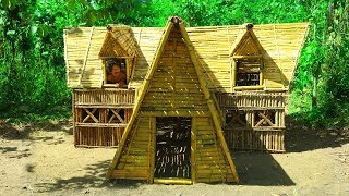 Awesome Man! Build The Greatness Winter Bamboo Villa House By Ancient Skills