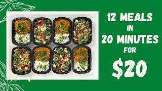 12 meals for $20 || Plant Based Vegan Meal Prep || Chickpea Curry & Kale Salad