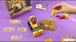Sand Toys For Kids. Fun With Kids In Sand. Digger Tractor
