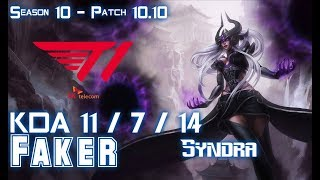 T1 Faker SYNDRA vs YASUO Mid - Patch 10.10 KR Ranked