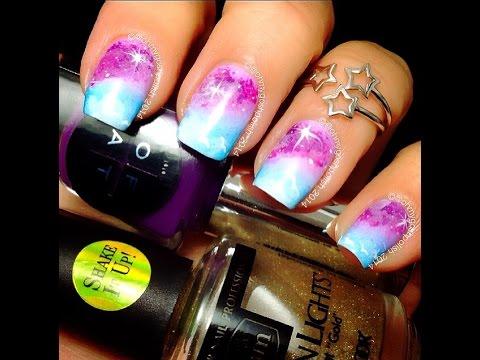 Sky meets Glalxy nail art