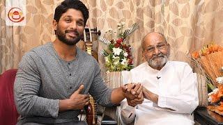 On the Eve of Winning Dada Saheb Phalke Award Allu Arjun Meets Legend K Viswanath