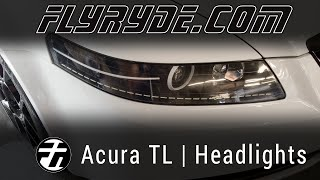 Acura TL Headlights with Power LED Strips and custom paint