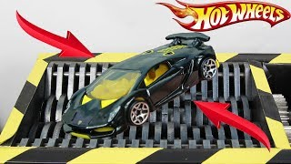 Experiment Shredding Hot Wheels Lamborgini Aventador | The Crusher