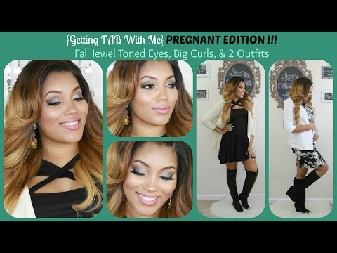 {getting Fab With Me} Pregnant Edition! Fall Jewel Tone Eyes, Big Curls & 2 Outfits video
