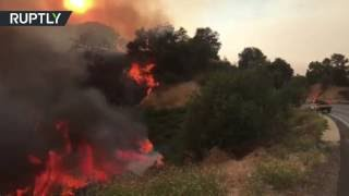RAW: Huge wildfires rage in California, forcing evacuations