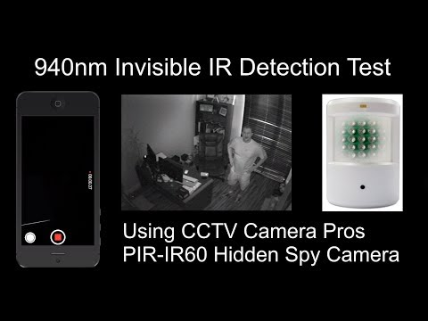 PIR-IR60 Hidden IR Camera 940nm Invisible Infrared LED Video Test