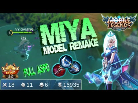 Mobile Legends - MIYA Model Remake Gameplay | Unstopable Kill Build [MVP]