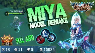 Mobile Legends - MIYA Model Remake Gameplay | Unstopable Kill Build [MVP]