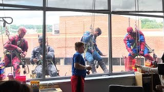 Window Washers Dress Up as Superheroes to Surprise Sick Kids in Hospital