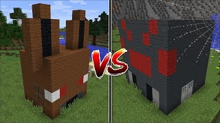 Minecraft SPIDER HOUSE VS BAT HOUSE MOD / BUILD BATTLE WITH MOB HOUSES !! Minecraft