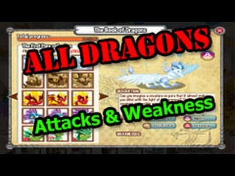 Dragon City ALL DRAGONS Complete DRAGON BOOK Full Attacks and Weakness