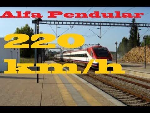 Alfa Pendula a passar a 220km/h na Estação de Mogofores.