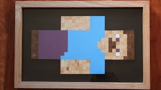 Minecraft Steve Frame - Made of Real Wood Cubes