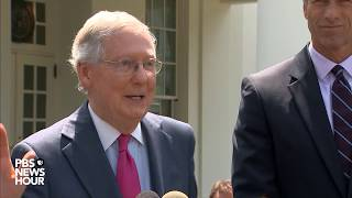 Senate Majority Leader McConnell speaks on health care after meeting with President Trump