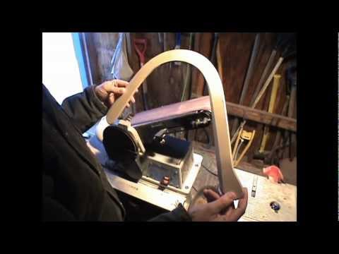 How to build a boomerang. Sanding trail, leading edge on belt sander PART 3