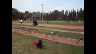single leg hurdles jump.