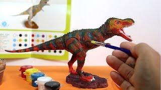 Dinosaur toy painting with watercolors  | Dinosaurio de juguete para pintar con acuarelas - 1/6