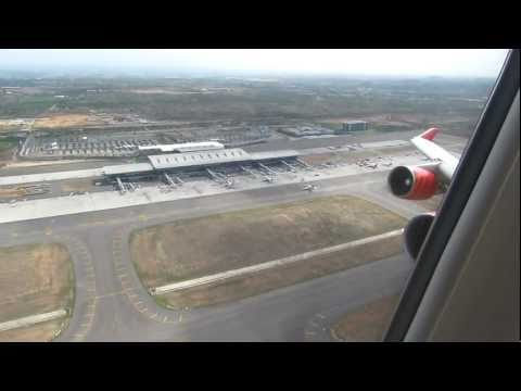 Air India B747-400 Take-off from Hyderabad, India - Window View