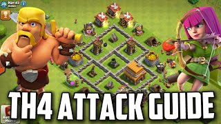 TH4 Attacking Guide/Tutorial *War/Trophy Farming*   Clash Of Clans