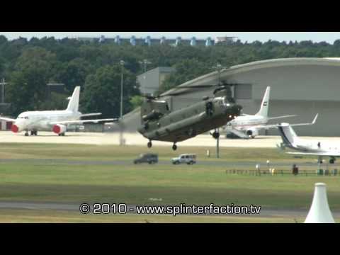 CH47 Chinook helicopter flight display at Farnborough International Air Show 2010 HD