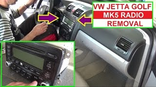 How to Remove or Replace Radio Vw Jetta MK5 Vw Golf MK5  Radio Cd Player Replacement