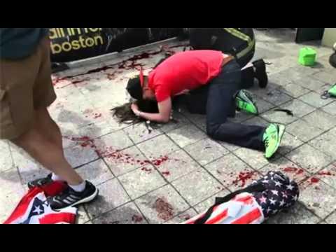 Man Comforting Woman Boston Marathon Boston Marathon Bombing Man