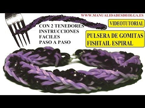 COMO HACER PULSERA DE GOMITAS FISHTAIL ESPIRAL DOBLE TWIST CON DOS TENEDORES. VIDETUTORIAL DIY.