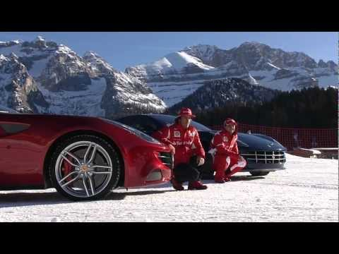 F1 2012 - Wrooom Madonna di Campiglio - Alonso & Massa with the Ferrari FF on the snow
