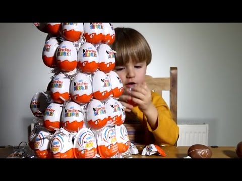 Opening 9 Kinder Surprise Eggs from Our Kinder Christmas Tree