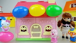 Hello Kitty house surprise eggs and baby doll Pororo toys play