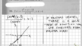 Making a function continuous (removable discontinuity/hole)