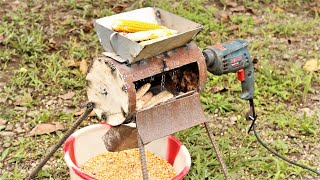 Drill Machine Hacks, How to Make a Mini Corn Sheller Machine. | DIY |