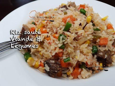Riz sauté viande et légumes