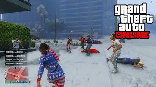 GTA 5 - SNOWBALL FIGHT & SNOW GAMEPLAY! (GTA 5 Christmas Snow DLC)