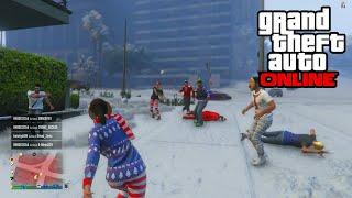 GTA 5 - SNOWBALL FIGHT & SNOW GAMEPLAY! (GTA 5 Christmas Snow DLC)