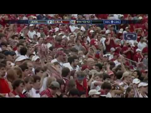 Terrance Cody Blows Up Arkansas Defensive Line for Ingram Touchdown 2009 Video