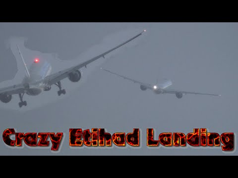 EXTREME CROSSWINDS Etihad airways Go around & Landing Stuck Mic Hurricane Gonzalo Manchester Airport