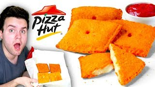 Trying Pizza Hut's GIANT Stuffed Cheez-It! - Fast Food Taste Test!