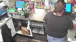 Armed convenience store robbery,cashier grabs gun and gives