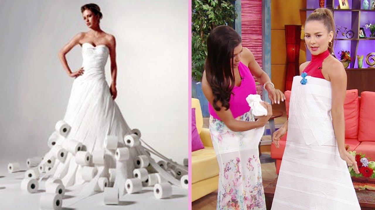 Vestido de novia de papel higiénico