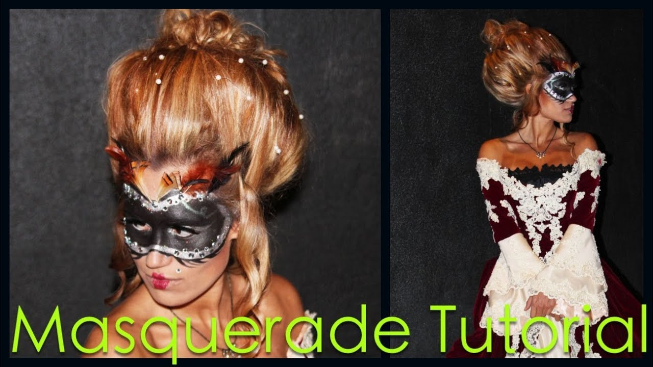 Masquerade Hairstyles For Long Hair : Masquerade Hair & MakeUp Tutorial - YouTube