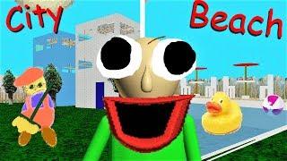 BALDI CAN WALK TO A CITY AND A BEACH!! Or pool.. | Baldi's Basics MOD: Baldi's Basics + City